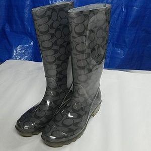 Coach grey rain boots